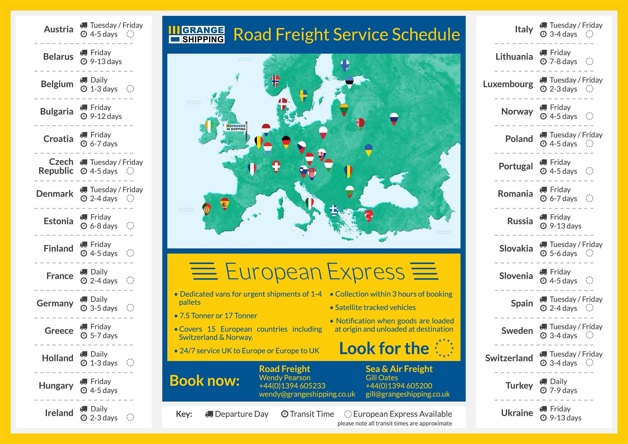Road Freight Service Schedule